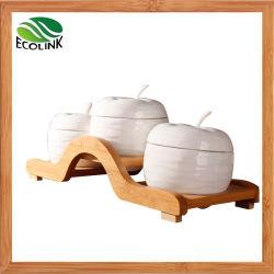 3 parti della scatola metallica della spezia del vaso del condimento dell'insieme di ceramica del vaso