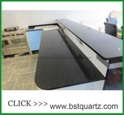 Черный Galaxy кварцевого камня ламината место на кухонном столе