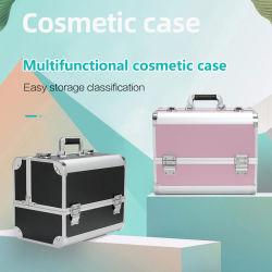 Produtos cosméticos bloqueável caso Portable Portable Seguidor de Profissionais de viagens em caso de armazenamento de Grande Capacidade Caso Cosméticos