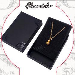 Contenitore di carta impaccante di colore di regalo segreto nero di sorpresa per il regalo della vigilanza del braccialetto dell'anello della collana dei monili