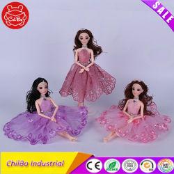 Vestido rosa linda rapariga boneca de plástico