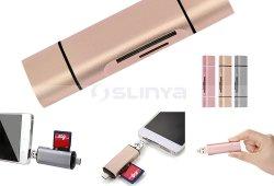 3 in 1 Multifunktions-USB-C Typen Kartenleser der c-Kartenleser-/USB 3.0/Micro USB/OTG TF statischer Ableiter Frau-
