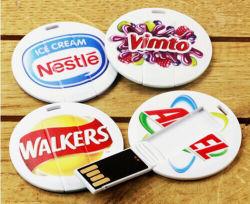 Redondos de alta calidad Mini Controlador de memoria Flash USB de tarjetas de crédito, Círculo Tarjeta USB con logo a color