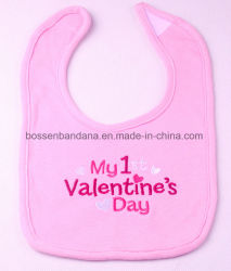 Produire de conception personnalisée OEM Valentine Rose coton brodé BABY BIB