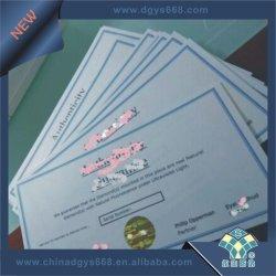 Certificado auténtico de documento de seguridad de Marca de agua de diseño personalizado