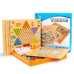 1개의 체스 세트, 나는 교판, 검수원, 주사위 놀이, 아이를 위한 수수께끼 장난감에 대하여 나무로 되는 장난감 Multifuncional 게임 체스판 게임 20