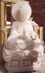 Standbeeld van het Beeldhouwwerk van China het Zuivere Witte Marmeren Boedha van de Grootte van de douane voor Binnen Openlucht Decoratief (sy-T103)