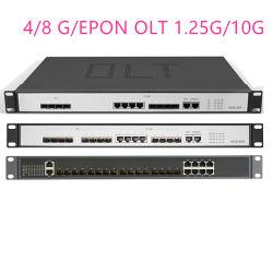 Channel 4/8 g/Epon Olt 4/8 Pon 4 portas SFP 1,25g/10g Sc Gerenciamento Web SFP Px20+ Px20++ Px20+++/C+/C++ aberto da Interface do Software Software Aberto Olt fibra FTTH Council
