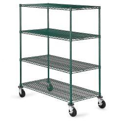 4つの層の緑のエポキシの金属プラント成長する環境の商業移動式ワイヤー棚付け