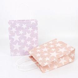 Stars Design White Kraft Door Gift Paper Bag For Shopping