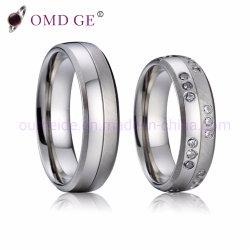 Réglage de diamants de couleur argent Stainlesss Teel Anneaux de mariage