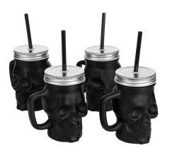 Verres de verre Skull Drinking Mugs verre Mason Jars Wholesale Glass Jars Bouteille à boisson en verre avec pots en verre à couvercle en paille et métal Avec poignée
