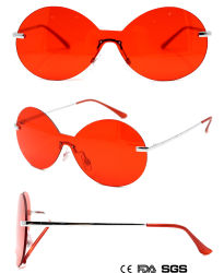 Lady's Egg-Frame monobloc Lens-Glasses Lunettes de soleil rouge (M61982)