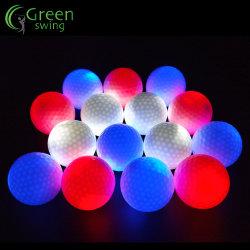 Pelota de Golf de luz LED intermitente de la capa de dos piezas bolas de resplandor para la noche tocan las bolas de golf