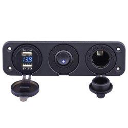 Carregador de tomada USB duplo 4.2A & Voltímetro LED + 12V + no interruptor oscilante de quatro funções de instrumentos