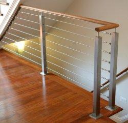 2019 L'escalier balustrade Fils en acier inoxydable avec du bois de chêne haut la main courante