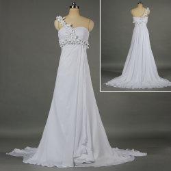 2019 Une épaule les fleurs en mousseline robes de mariage de plage pour la mariée W048