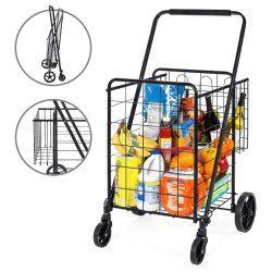 ショッピングのための鋼鉄記憶の実用的なカート、2つのバスケット、旋回装置の車輪が付いている食料雑貨を折る最もよい上等の製品