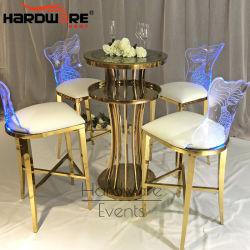 Moderner Entwurfs-GoldEdelstahl-Metallhoher Stab-Tisch-Sets für Partei