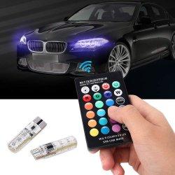 T10 Sinal LED RGB de Luzes T10 194 Canbus Telecomando acessórios para automóvel Auto Folga Interior Lâmpadas para automóveis