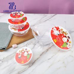 prix d'usine 5PCS Bol en verre d'aliments contenant de la salade avec couvercle hermétique de transfert pour le commerce de gros cadeaux Promotion