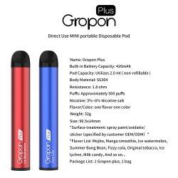 O OEM&ODM 3% 5% 6% de nicotina suco sal Gropon Plus 500puffs vaporizador grossista cartuchos de caneta