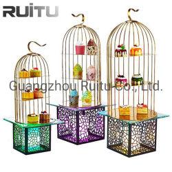 Outils de thé en après-midi a conduit de lumière colorée Buffet Risers métal or fil 3 Tier plateau en verre cristal Présentoir dessert la décoration de la pendaison Bird Cage Cake Stand