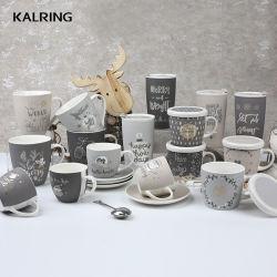 Caneca de Natal Travel caneca com tampa Cup e pires de porcelana caneca com tampa de cerâmica
