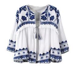 Weißer O Stutzen der Großhandels-Soem-neuen Form-drei Viertel-Hülsen-Bluse mit Stickerei-Chiffon- Bluse