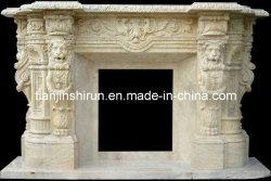 Löwe-Skulptur-Travertin-Stein-Feuer-Einfassung, Kamin (LY013)