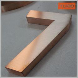 3D finition métal brossé Lettre Lettre fabriqué par canal Numéro de maison alphabet