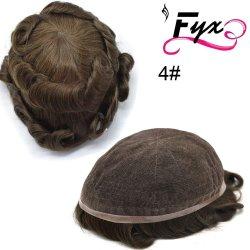 Pleine taille Toupee dentelle française Hommes 79 respirant Noir Brun Hairpiece Indian Remy Hair perruques (#4 brun moyen)