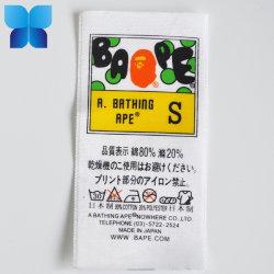 Barato por grosso de vestuário personalizados de alta qualidade impressos etiqueta Cuidado de lavar roupa