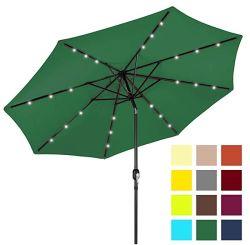 9FT 태양 강화된 LED 빛에 의하여 점화되는 옥외 정원 안뜰 우산