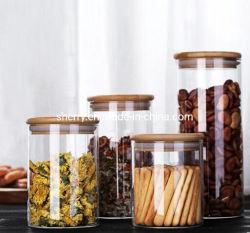 Un insieme del vaso di memoria 5 di vetro con la scatola metallica di vetro del coperchio di bambù con il coperchio