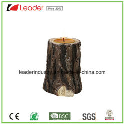 Artesanato Polyresin estilo madeira suporte para velas para decoração