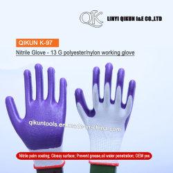 K-97 13 jauges nylon polyester coton enduit à base de nitrile Gants de travail de la sécurité