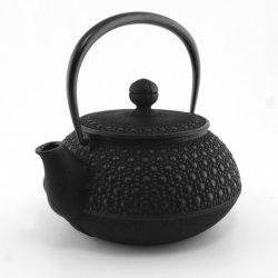 日本の鋳鉄のティーポット、黒、0.55 Lt