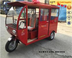 Driewieler van de Passagier van de Riksja van China de Nieuwe Klassieke Auto, Bajaj Trike, de Gesloten Motorfiets Met drie wielen van het Gas