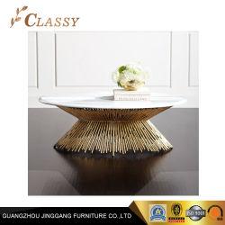 황금 금속 기초를 가진 호화스러운 타원형 유리제 대리석 커피용 탁자