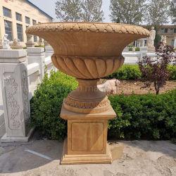 La conception personnalisée grand jardin décoration en marbre sculpté à la main de pierre pot de fleurs