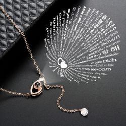 Valentine's Gift 2019 Top-Design heiße Verkauf Frauen Mode Ketten Schmuck Accessoires Ich liebe dich in 100 Sprachen Blume Projektion Halskette