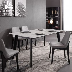 이탈리아 대리석 탑 아시 솔리드 우드 레그 다이닝 테이블
