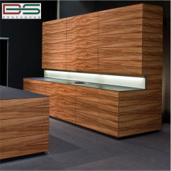 Armadio da cucina di legno verticale della visualizzazione della melammina del grano