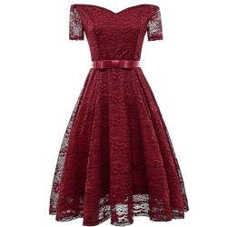 Amazon último verano de encaje rojo vestido de novia 2018 Señoras Bodycon de manga corta de hombro vestido de noche