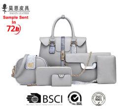 Guang Zhou Factory PU レザーバッグファッションデザイナーレディバッグ 女性の流行のトート女性 6 部分のハンドバッグセット