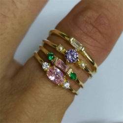 4PCS Ring Fashion Zircon Engagery Alloy