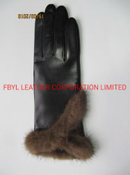 Handschoenen de van uitstekende kwaliteit van het Leer van de Vrouwen van de Manier met de Decoratie van het Bont (jyg-21006)
