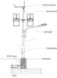 LED 100W de l'Éolienne Horizontal du vent solaire Rue lumière hybride