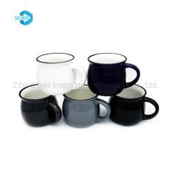 최신 판매 변죽 검정 색깔에 의하여 윤이 나는 사기질 세라믹 커피잔